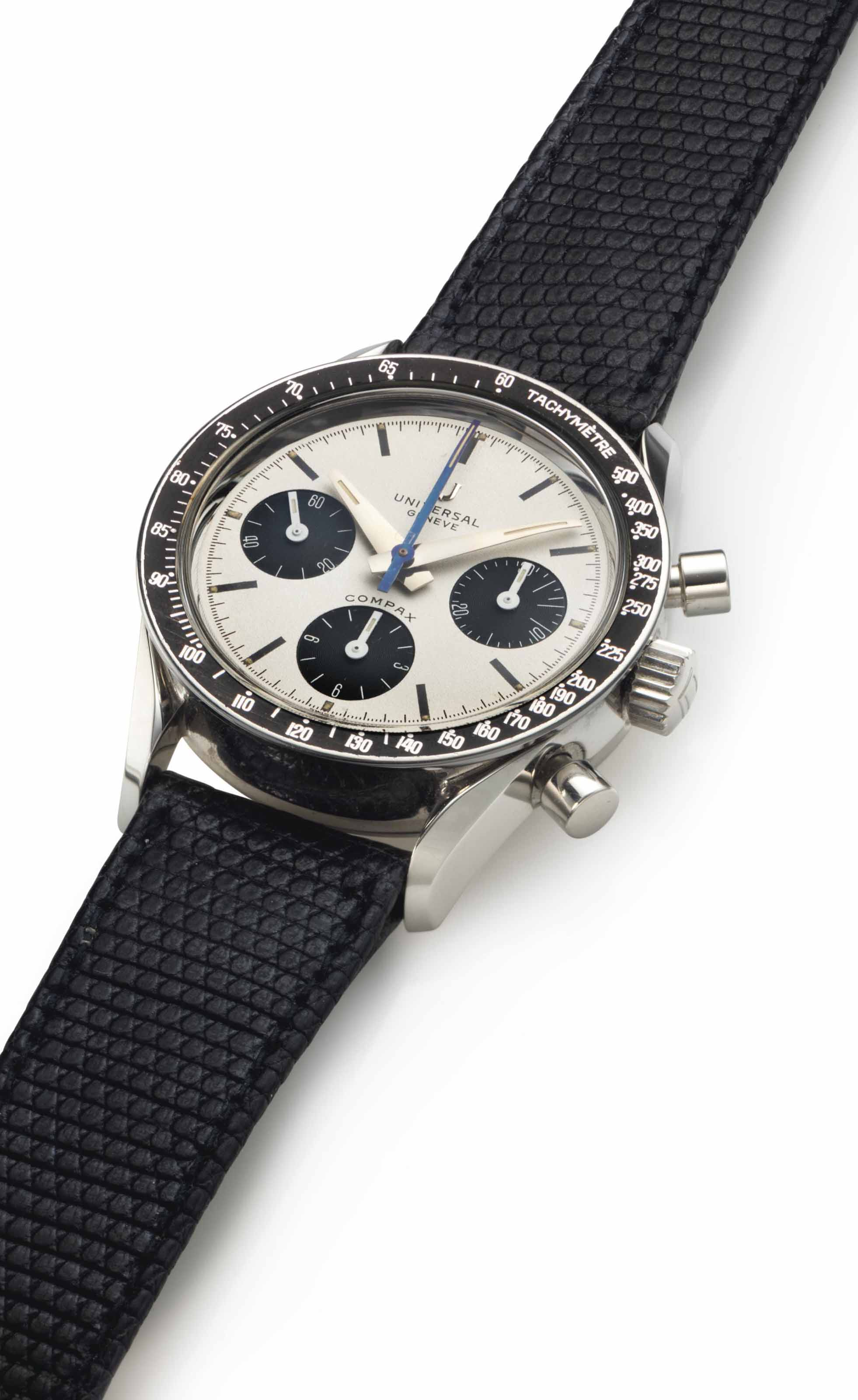 Universal Genève. A Rare Stainless Steel Chronograph Wristwatch