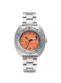Doxa. A Stainless Steel Automatic Divers Wristwatch with Date, Orange Dial and Bracelet