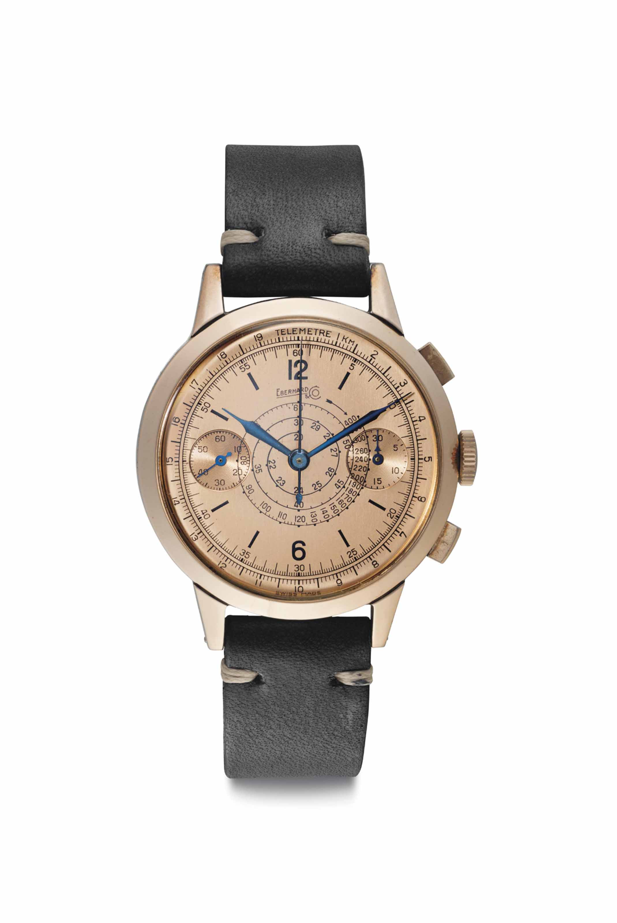 Eberhard. An 18k Pink Gold and Stainless Steel Chronograph Wristwatch with Pink Dial