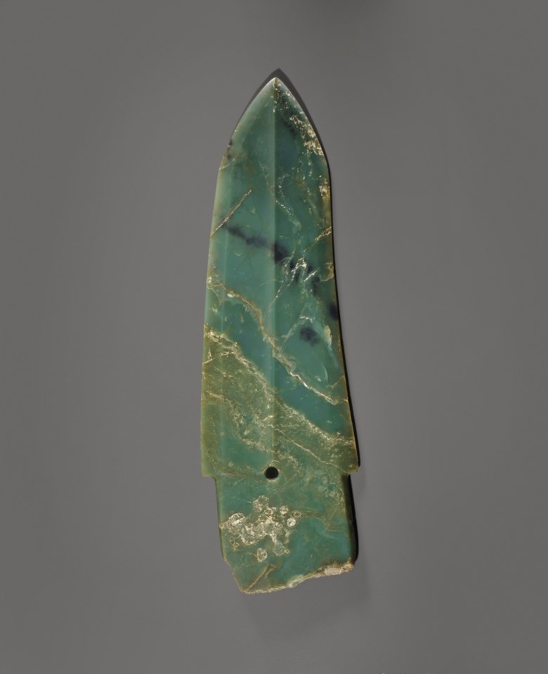 A rare large bluish olive-green jade ge dagger-axe, China, late Shang dynasty, 11th century B.C. 15  in (38  cm) long, box. Sold for $233,000 on 17 March 2015 at Christie's in New York