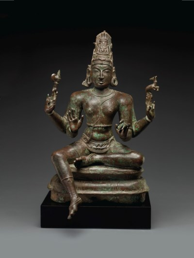 A LARGE BRONZE FIGURE OF SHIVA