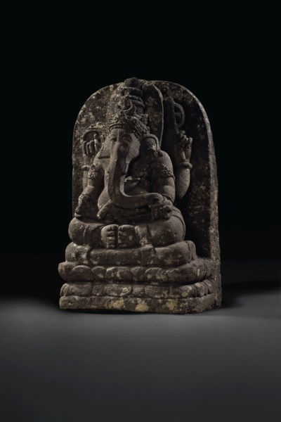 A STONE FIGURE OF GANESHA