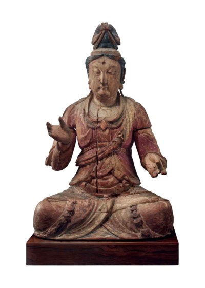 A LARGE POLYCHROME WOOD FIGURE