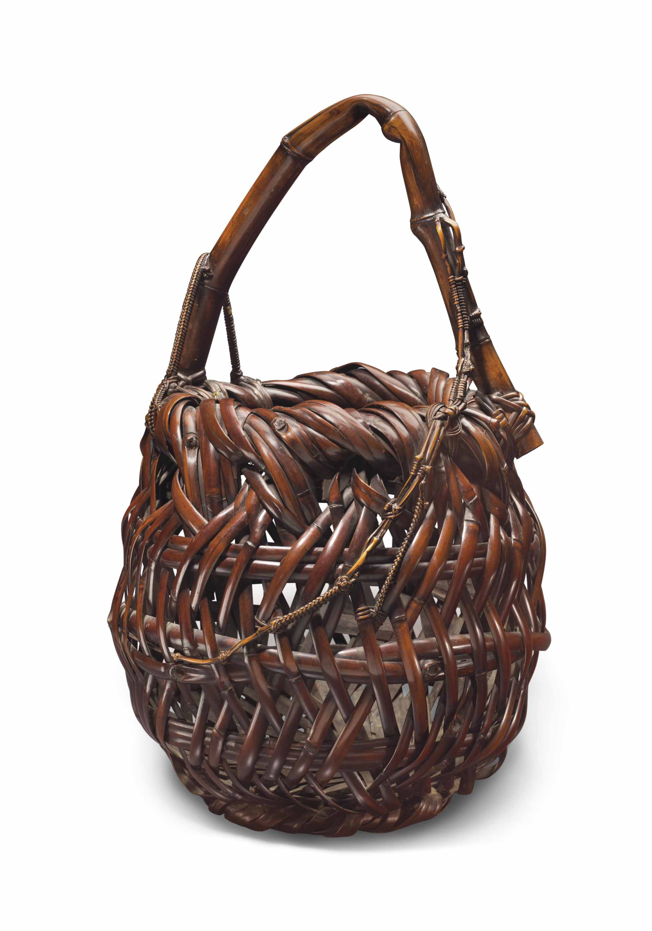 A Japanese Bamboo Flower Basket Taisho Period 20th Century All