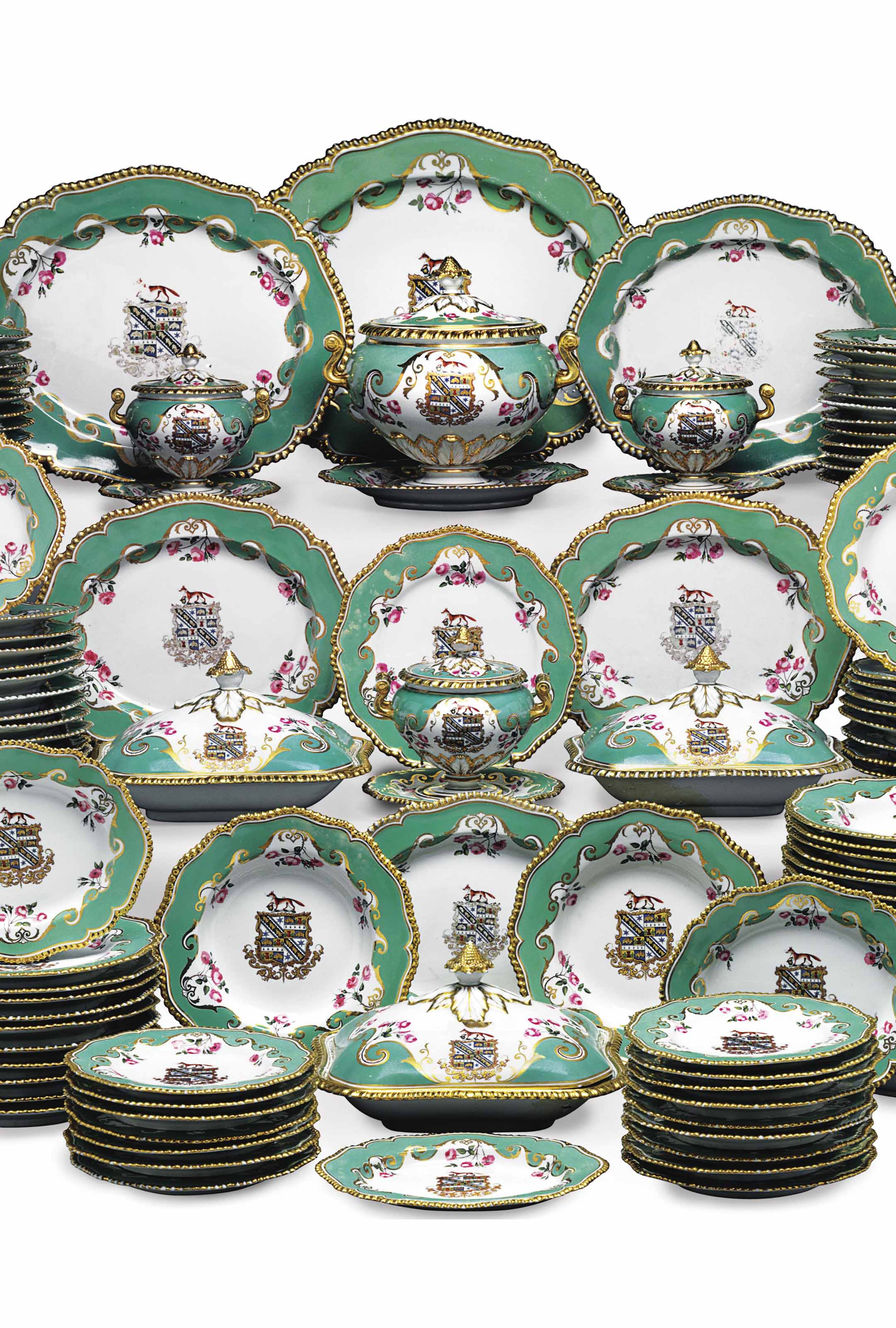 A Worcester porcelain (Flight, Barr & Barr) armorial apple-green-ground part service, circa 1824. 22 in (55.8  cm) wide, the largest platter. Sold for $47,500 on 21 March 2015 at Christie's in New York