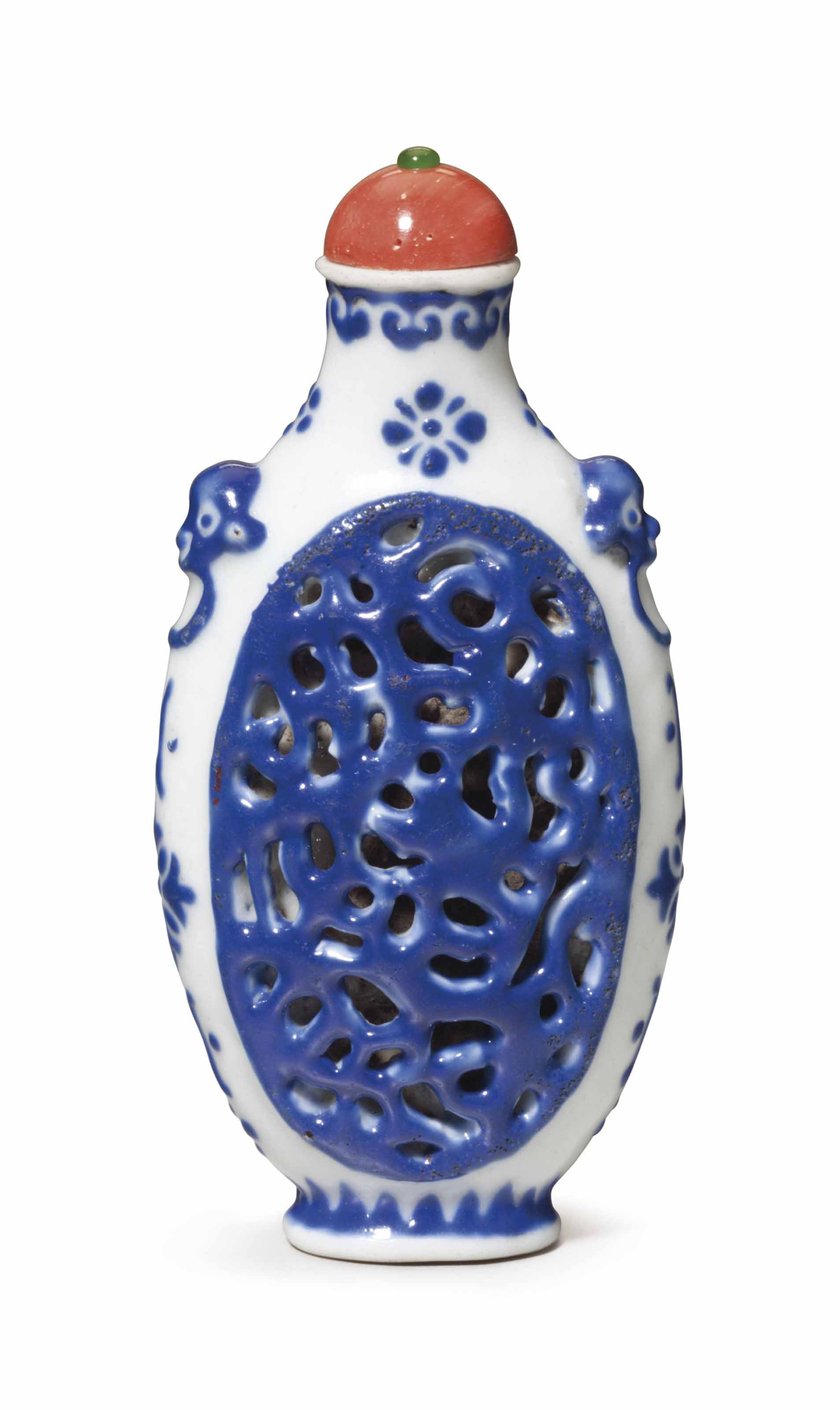 A MOLDED AND RETICULATED BLUE-