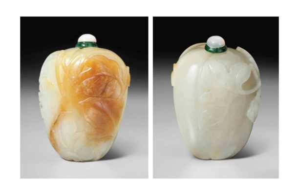 A WHITE AND RUSSET JADE GOURD-