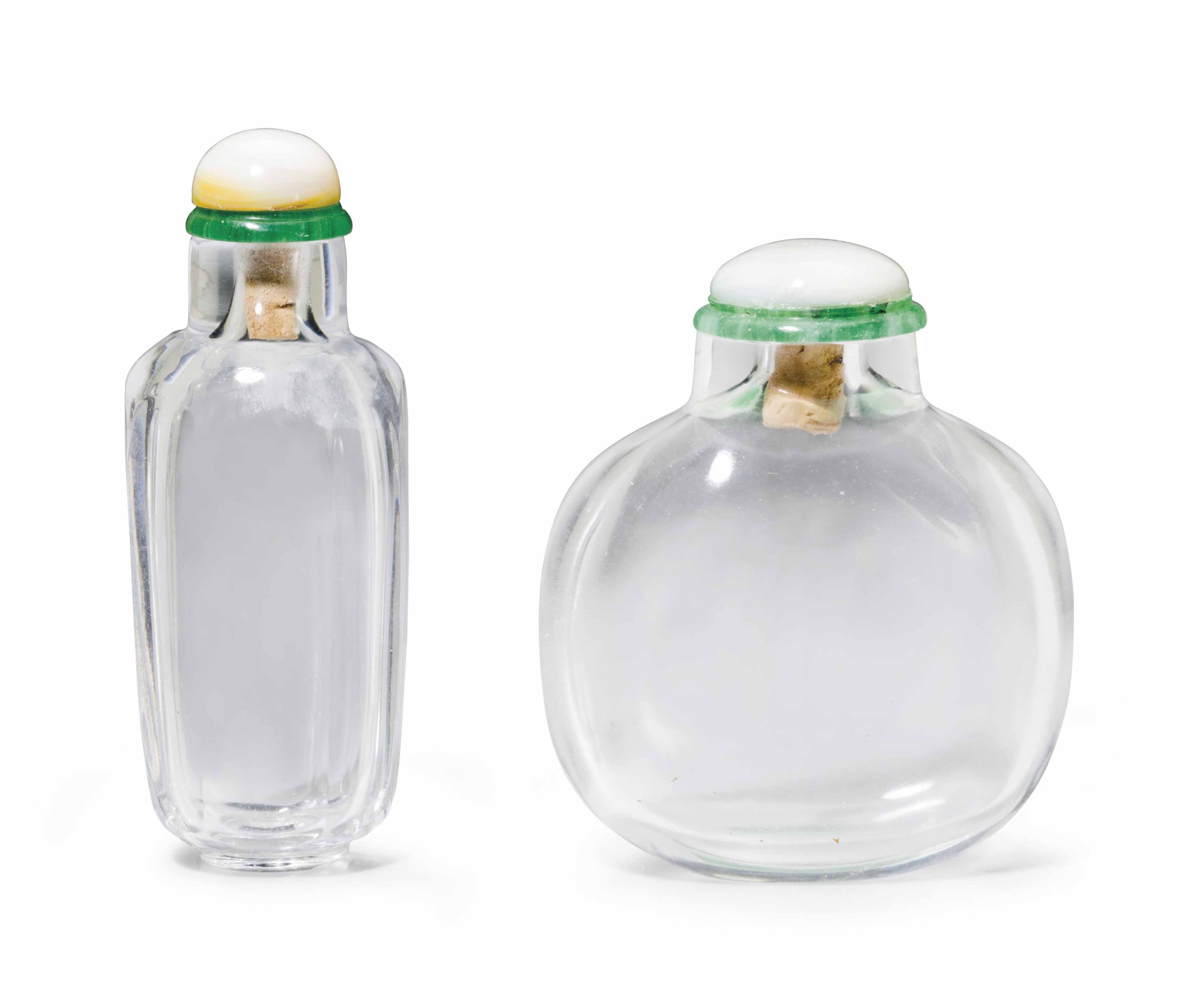 TWO ROCK CRYSTAL SNUFF BOTTLES