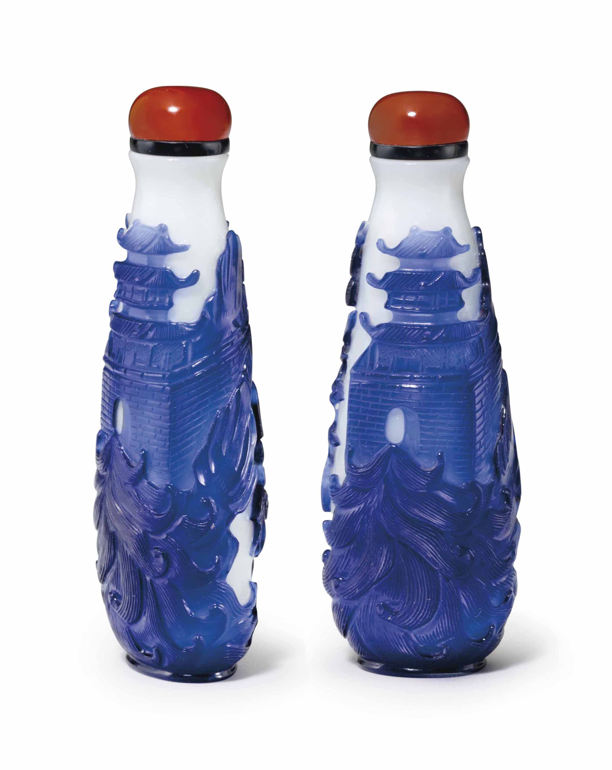 A BLUE-OVERLAY WHITE GLASS SNU