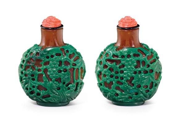A GREEN-OVERLAY BROWN GLASS SN