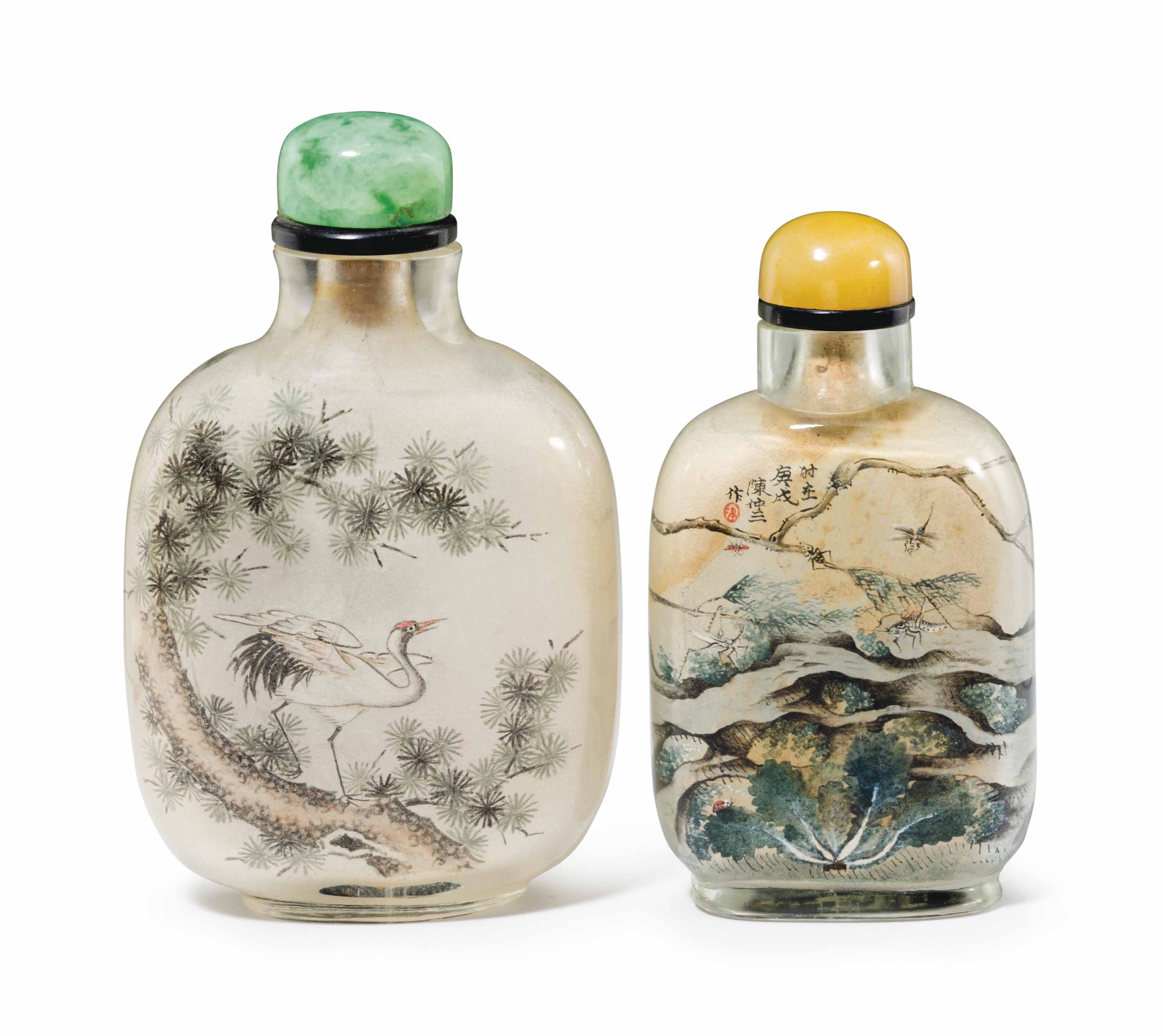 TWO INSIDE-PAINTED GLASS SNUFF