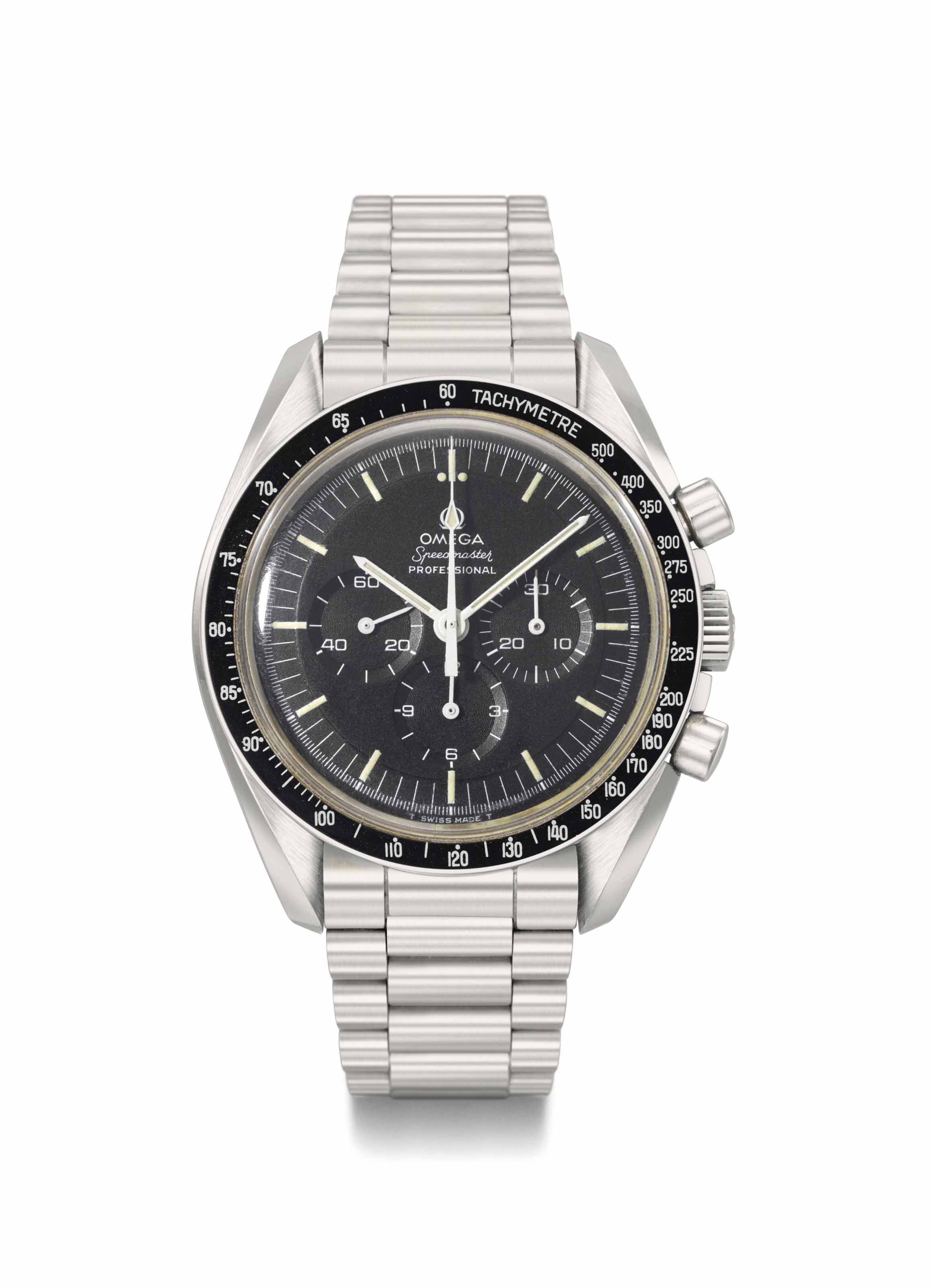 Omega. An Exceptional, Highly Attractive and Historically Important Apollo 17 Privately Flown Stainless Steel Chronograph Wristwatch and Flown Metal Attachment from the Personal Collection of Astronaut Ron Evans, Certified and Signed