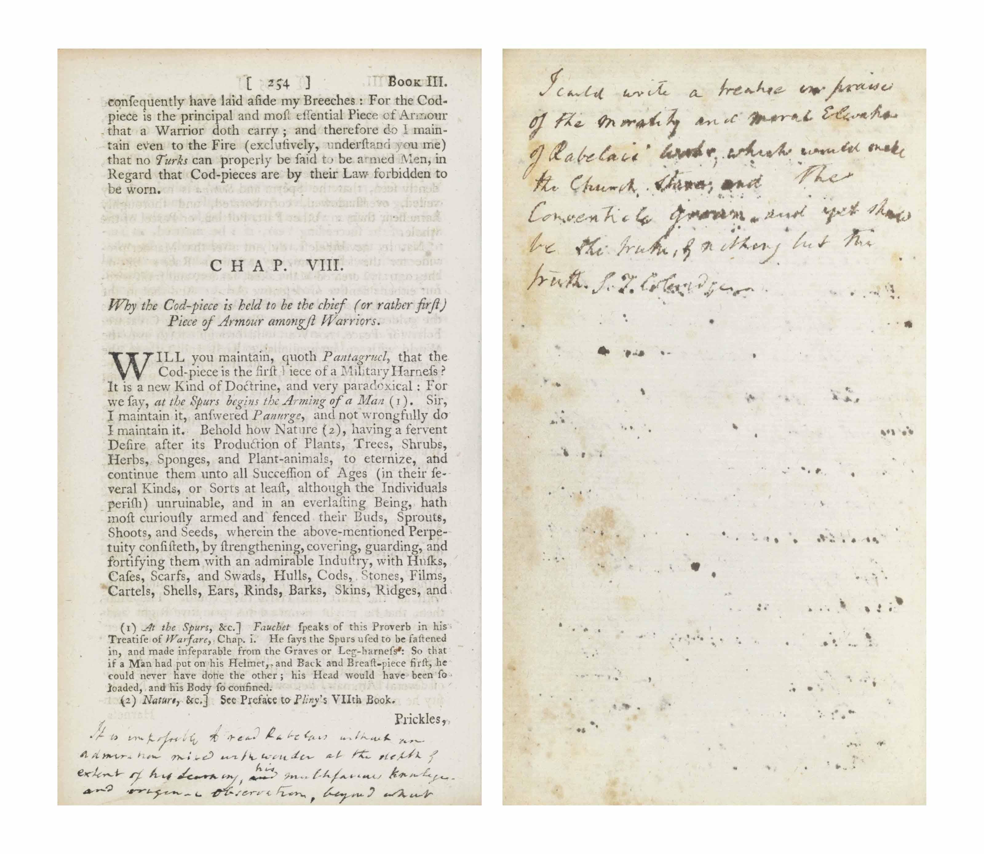 COLERIDGE, Samuel Taylor, his copy]  RABELAIS, François