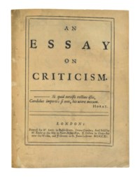 [POPE, Alexander]. An Essay on Criticism. London: for W. Lewis; and sold by W. Taylor, T. Osborn, and J. Graves, 1711.