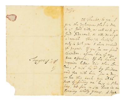 POPE, Alexander. Autograph let