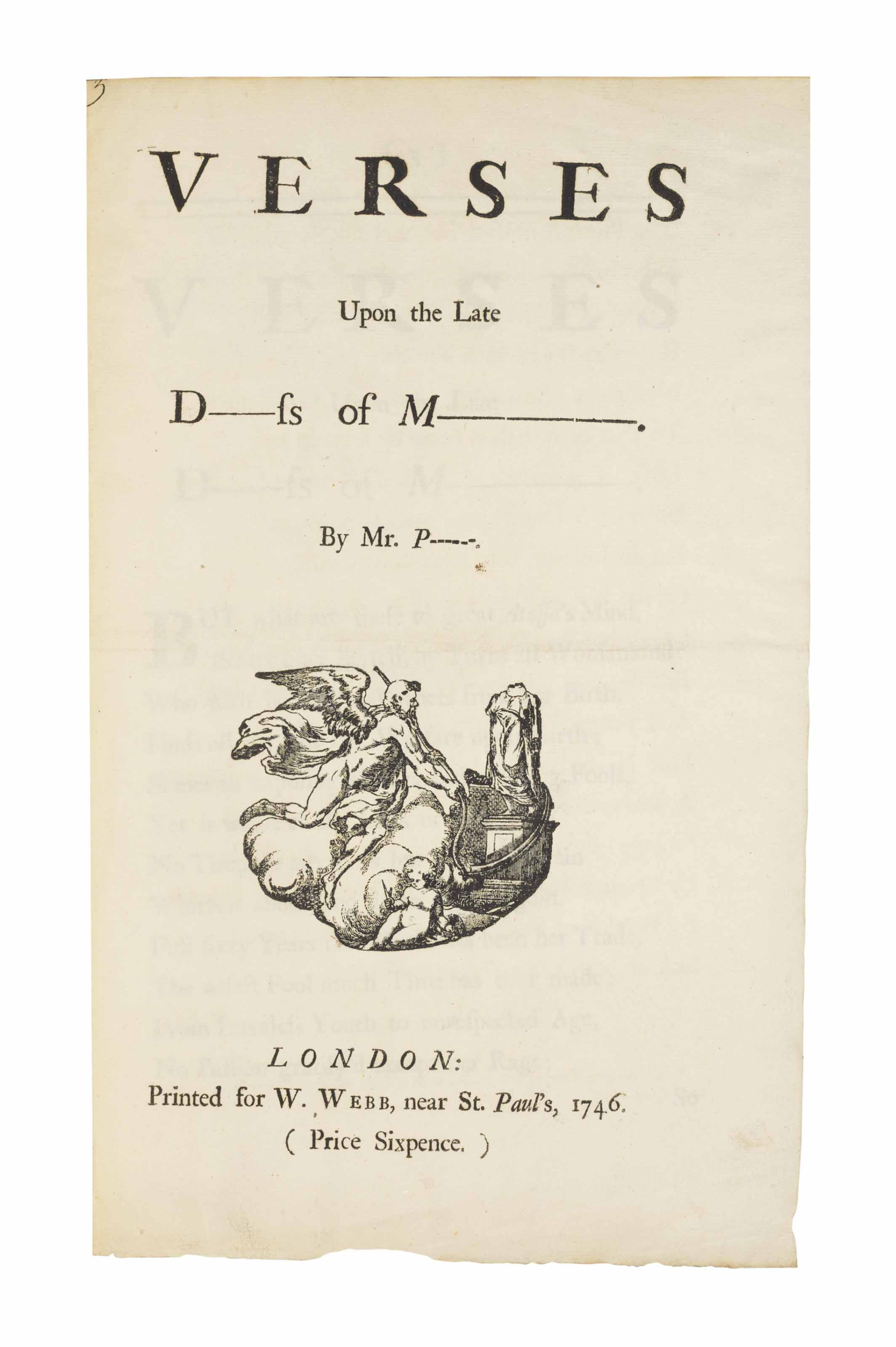 POPE, Alexander. Verses upon the late D-----ss of M-----. By Mr. P. London: W. Webb, 1746.