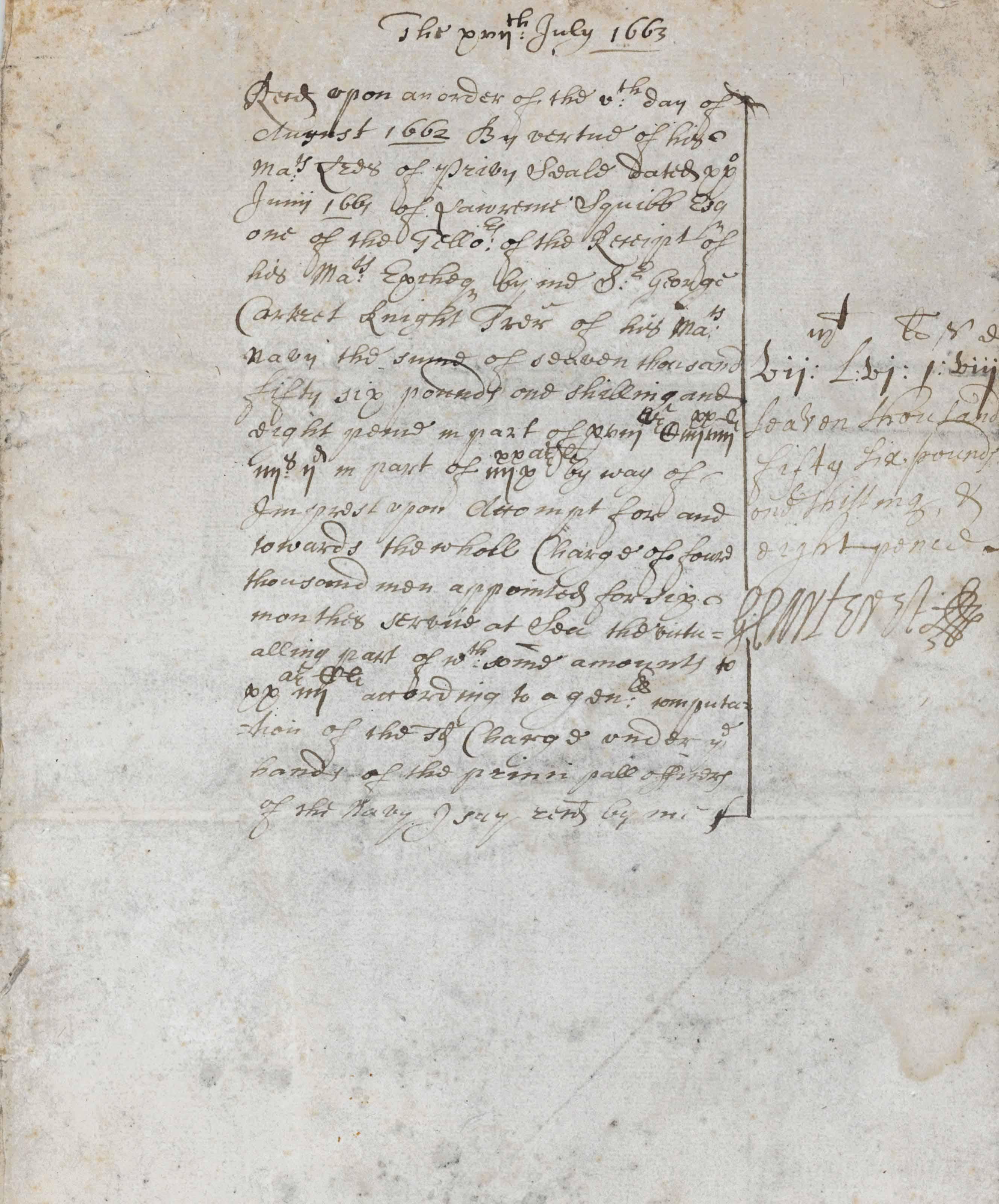 CARTERET, George (1610-1680).