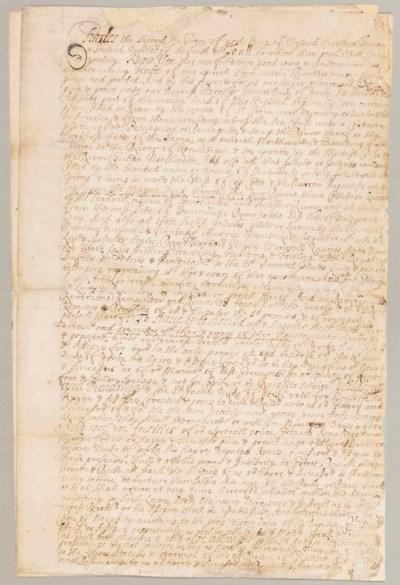 [CHARLES II.] Manuscript docum