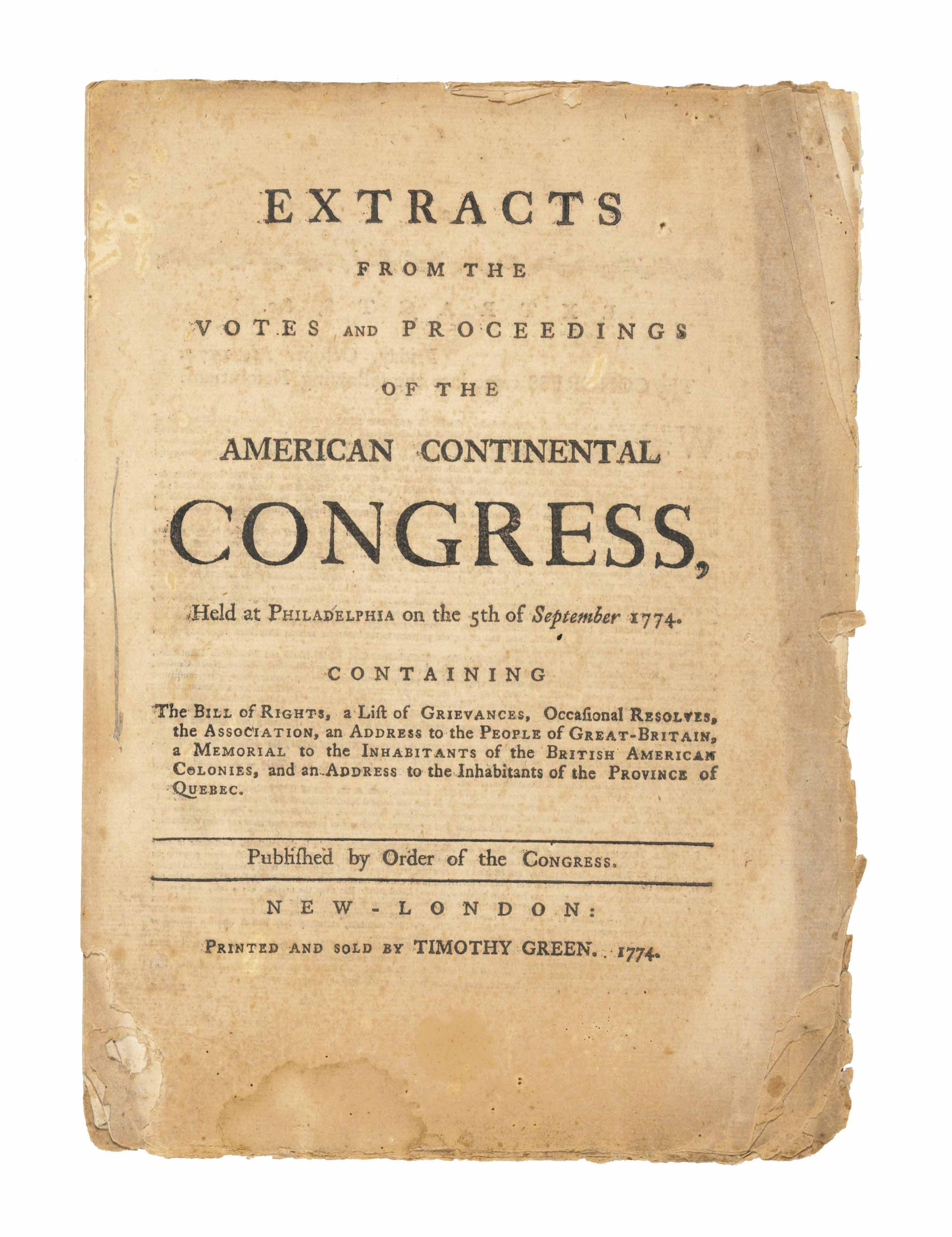 CONTINENTAL CONGRESS. Extracts