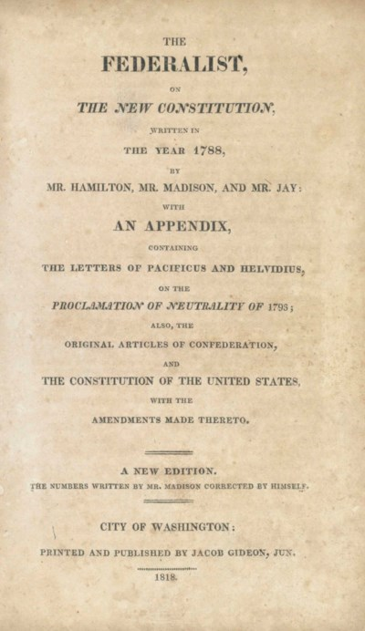 [THE FEDERALIST PAPERS]. – [HA