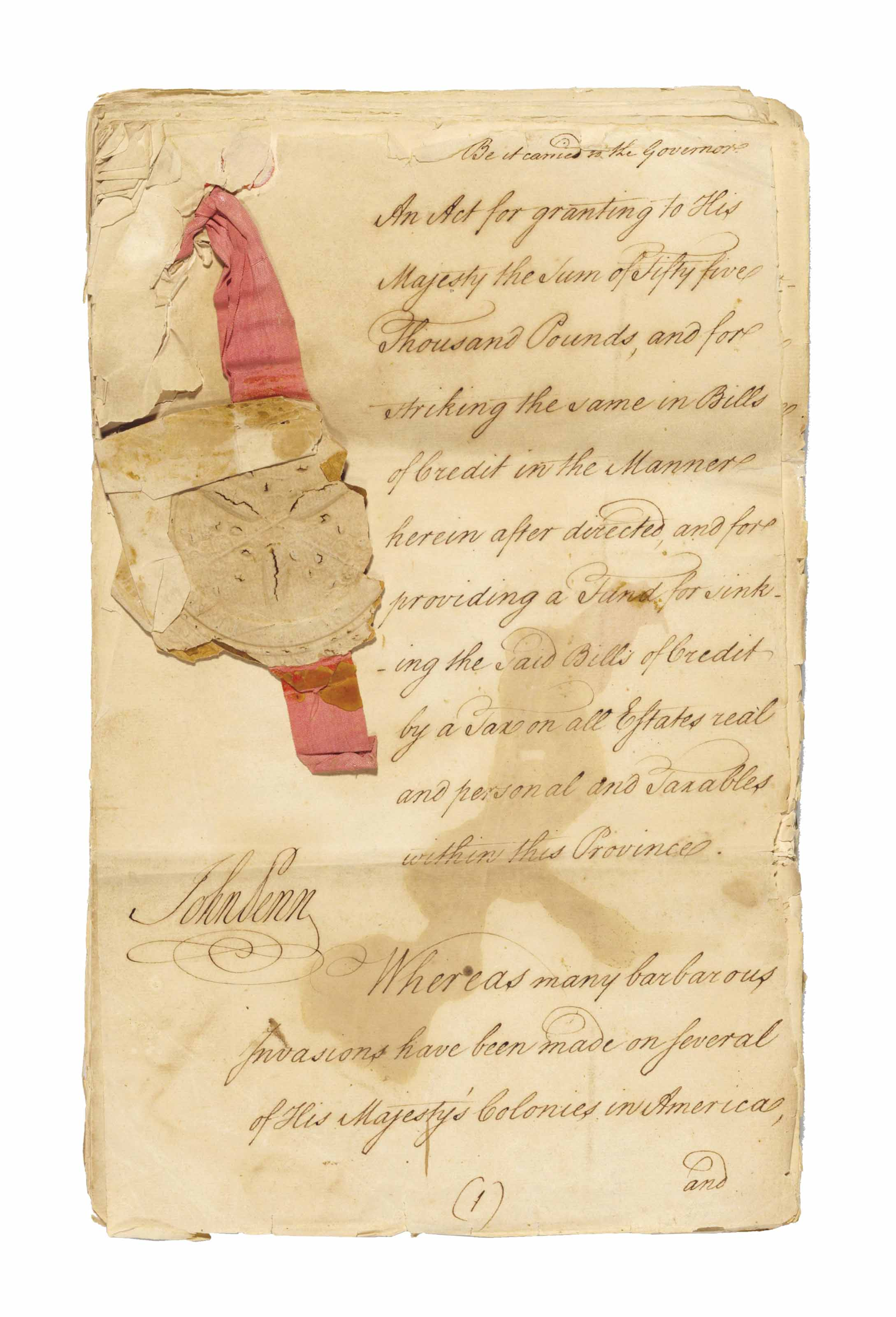 FRANKLIN, Benjamin. Document s