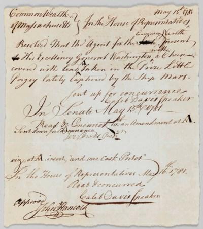 HANCOCK, John. Manuscript docu