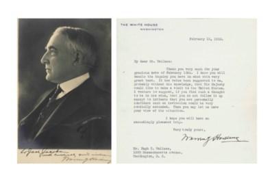 HARDING, Warren G. Typed lette