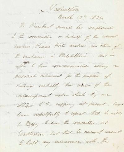 JACKSON, Andrew. Letter signed