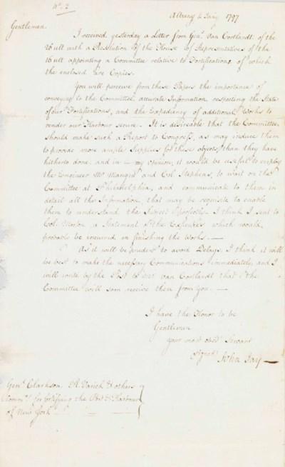 """JAY. John. Letter signed (""""Joh"""