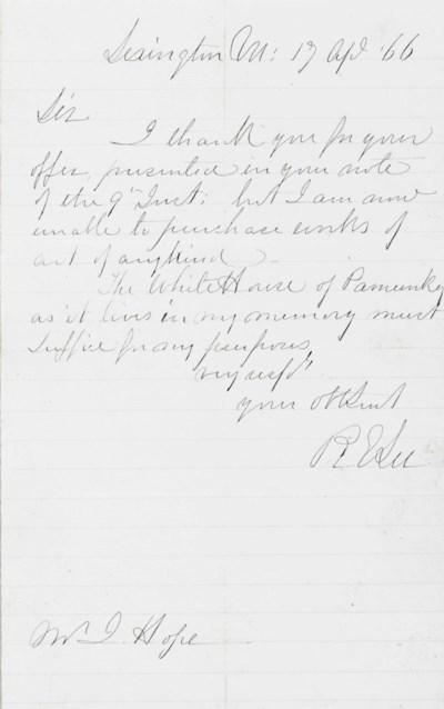 LEE, Robert E. Autograph lette
