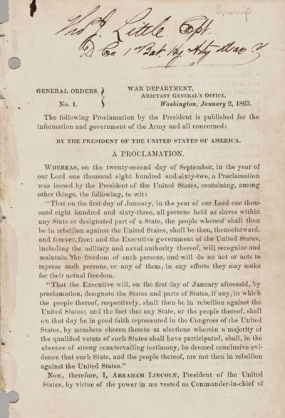 LINCOLN, Abraham. Emancipation