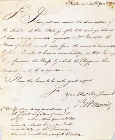 MORRIS, Robert. Letter signed