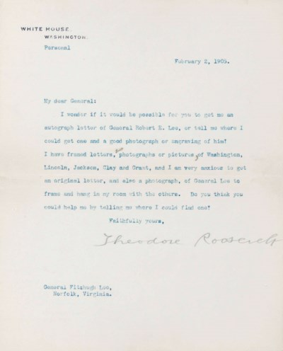 ROOSEVELT, Theodore. Typed let