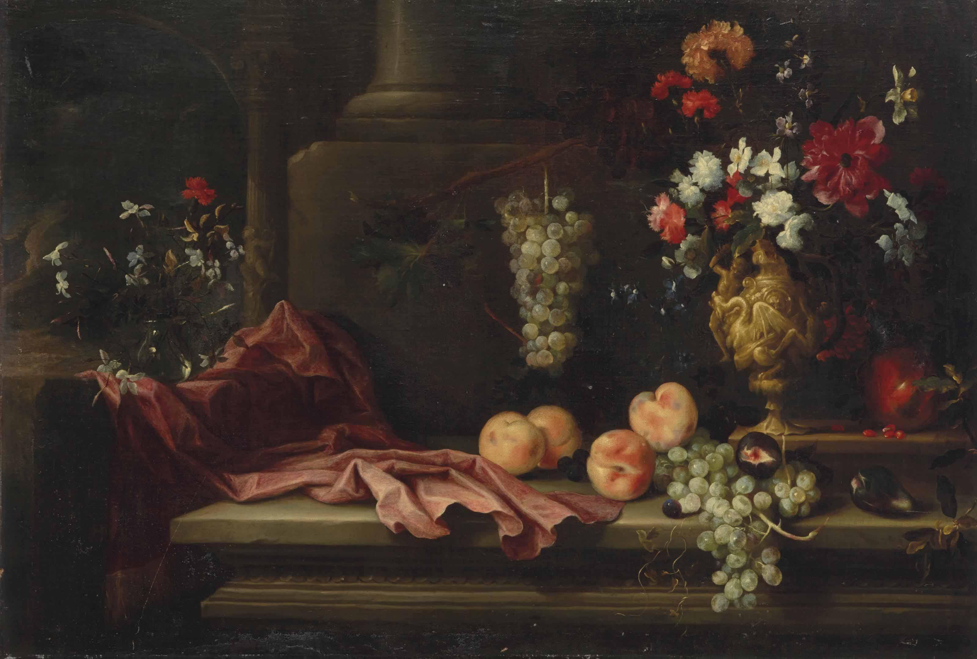 Nature morte de fleurs et de fruits dans un décor architecturé