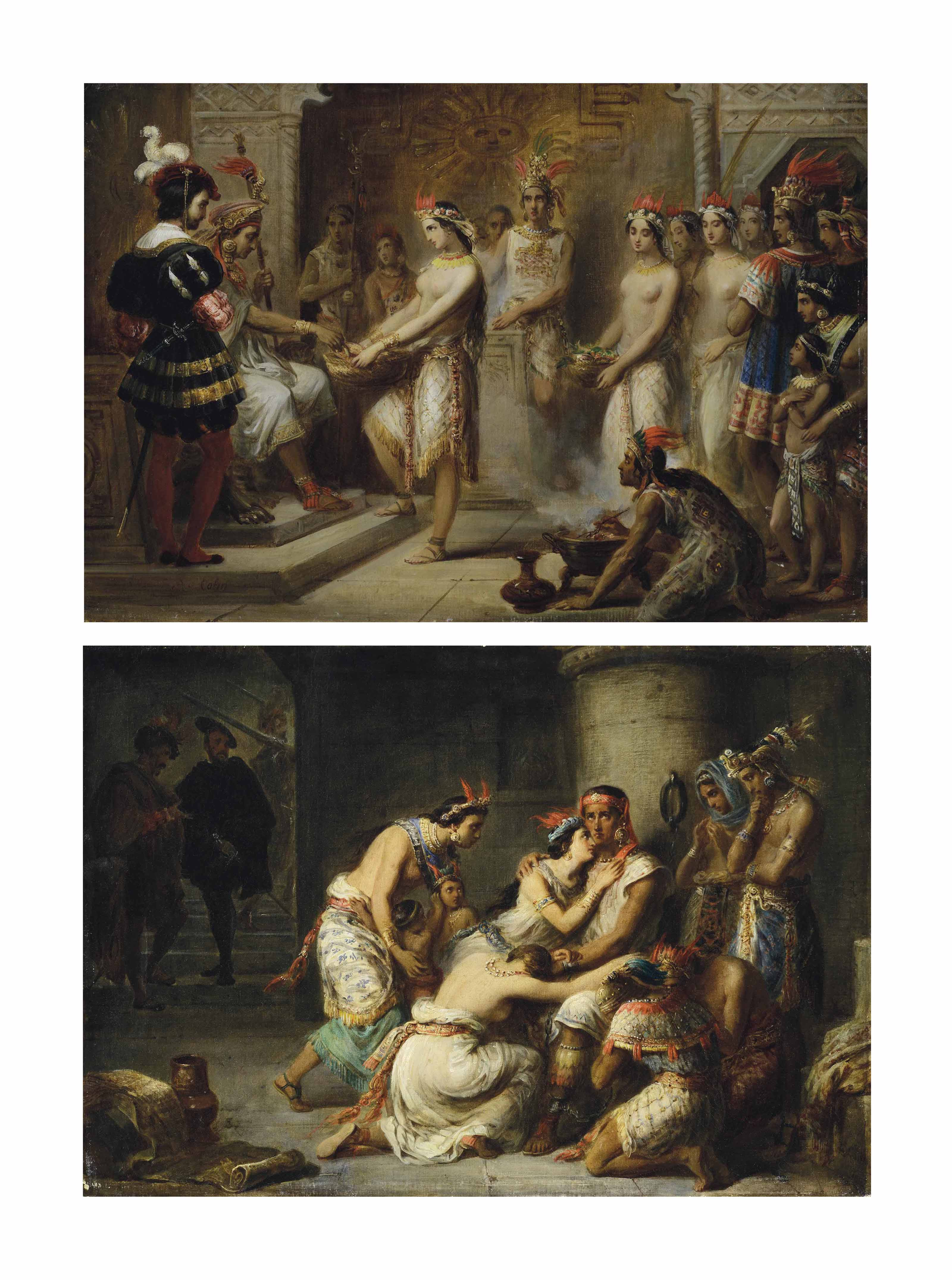 Ataliba (Atahualpa) recevant de ses sujets la rançon qu'il doit verser à Pizarre; et Ataliba (Atahualpa) et sa famille réunis en prison