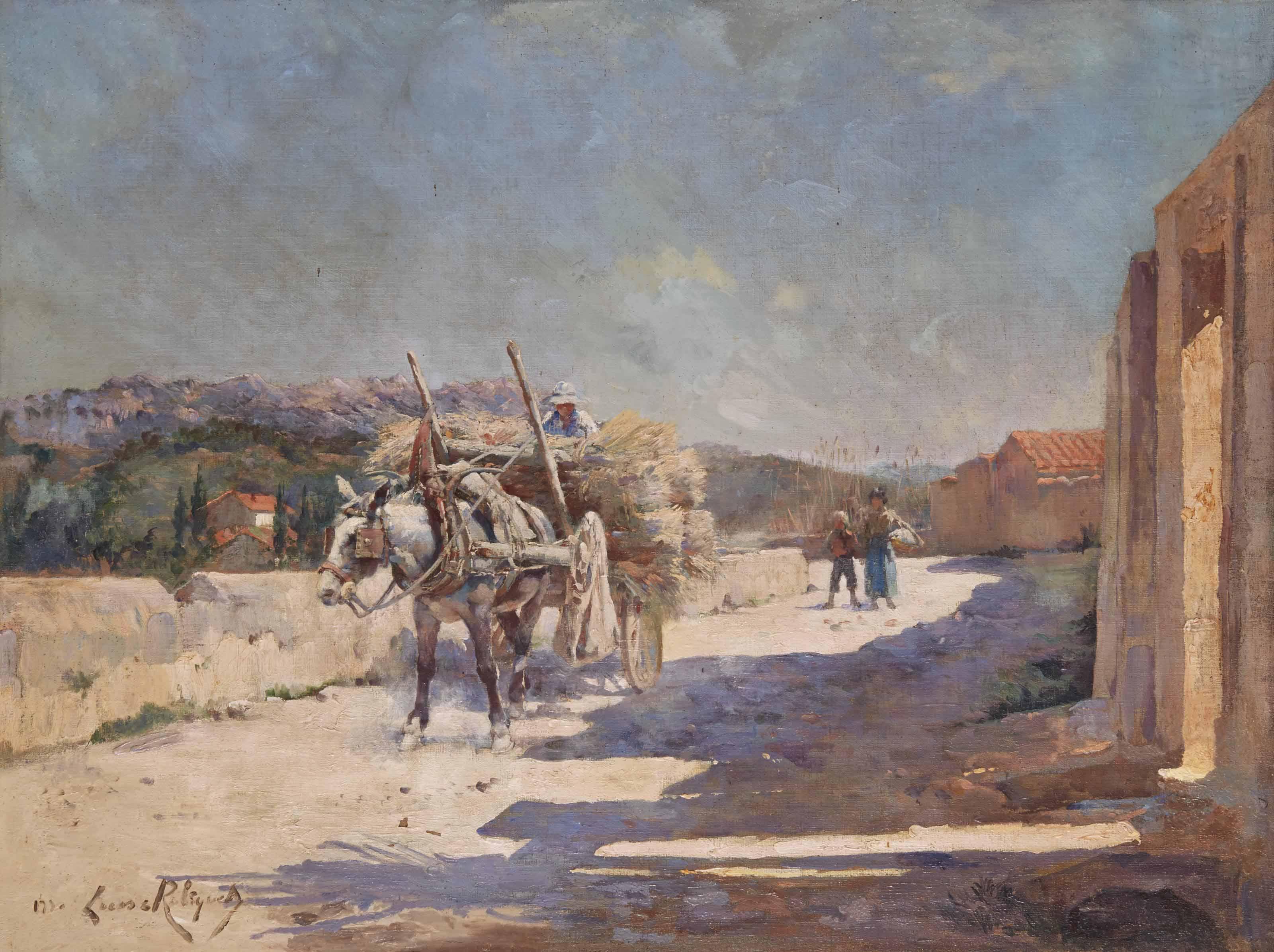 Chemin de Provence avec une charrette