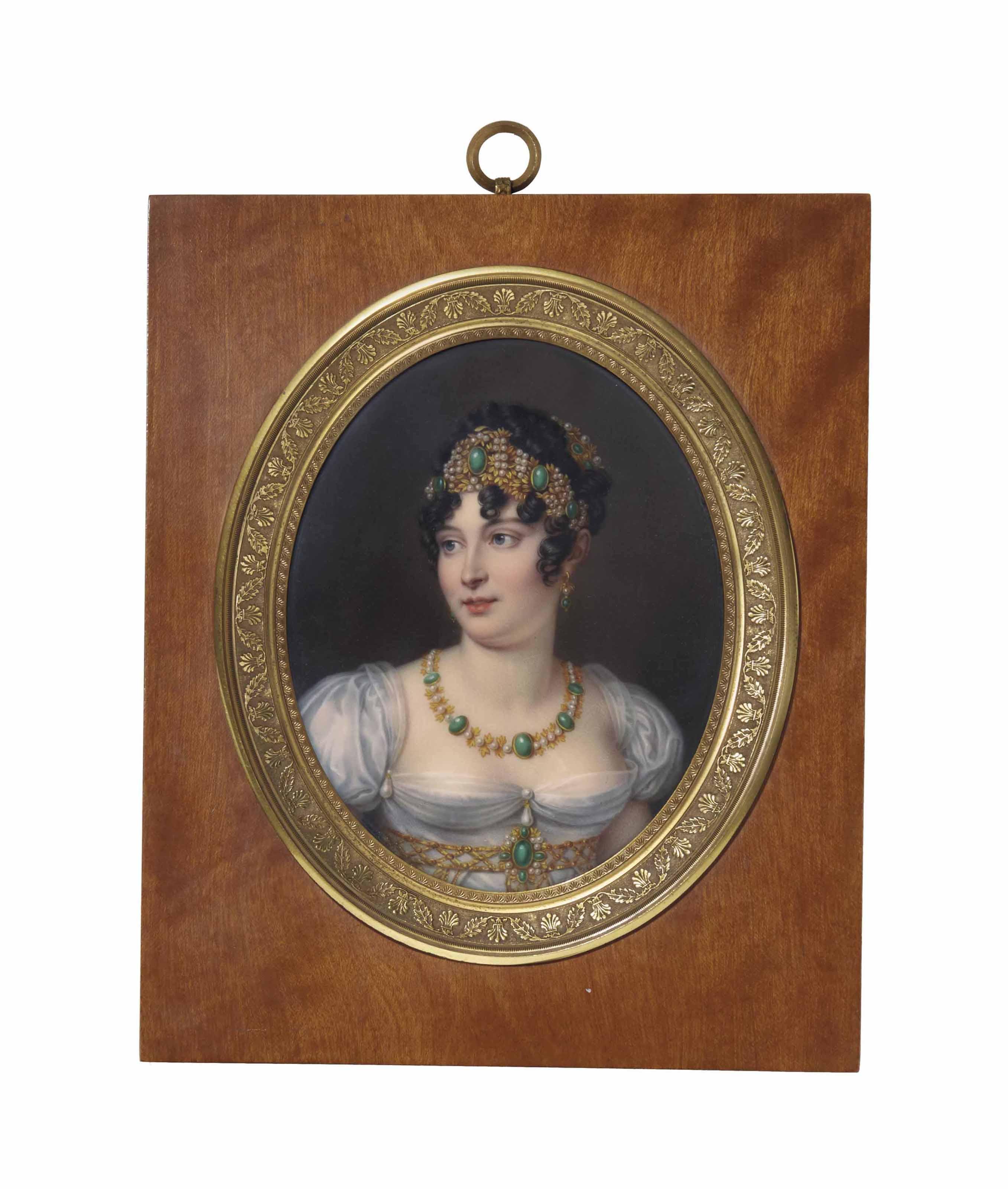 Portrait de Caroline Bonaparte portant une robe blanche et une parure bijoux à décors de perles et de malachite