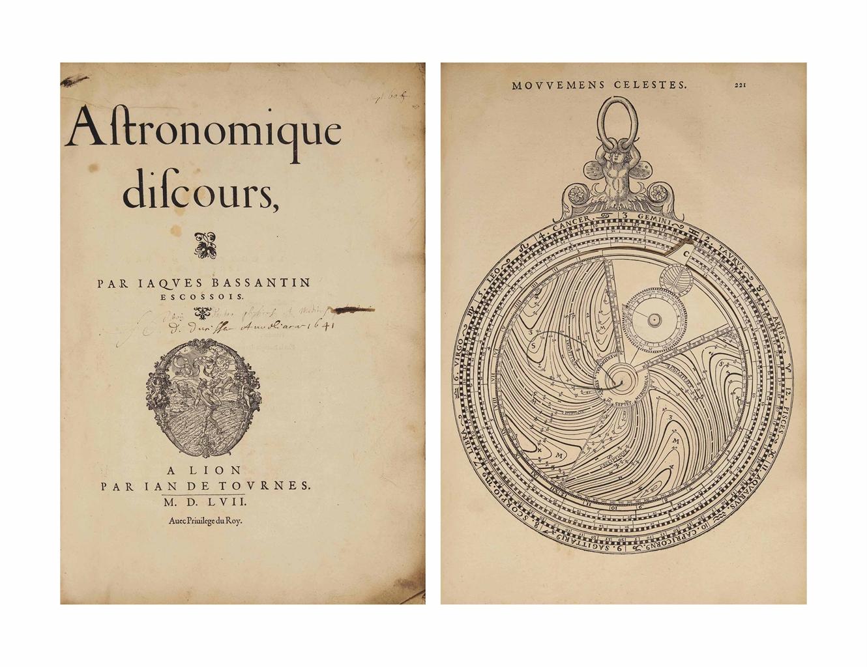 Jacques BASSANTIN (James BASSANTYNE, c. 1500-1568). Astronomique discours, par Jaques Bassantin Escossois. Lyon: Jean de Tournes, 1557. In-folio (440 x 310 mm). Marques de Jean de Tournes (Semeur au titre, Lac d'amour au feuillet N4r), grandes initiales à fond criblé. 175 gravures sur bois, dont de nombreux diagrammes. 14 de ces figures comportent des volvelles (36 au total dans cet exemplaire). Demi- basane brune début XIXe, tranches non rognées.