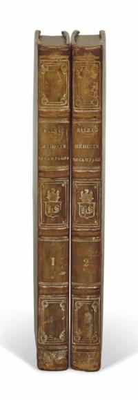 Honoré de BALZAC (1799-1850). Le Médecin de campagne. Päris: L. Mame-Delaunay, 1833. 2 volumes in-8 (204 x 125 mm). Reliure de l'époque, demi-veau à coins , dos à nerfs orné, chiffre couronné de Lord Seymour frappé au dos, sans les couvertures.