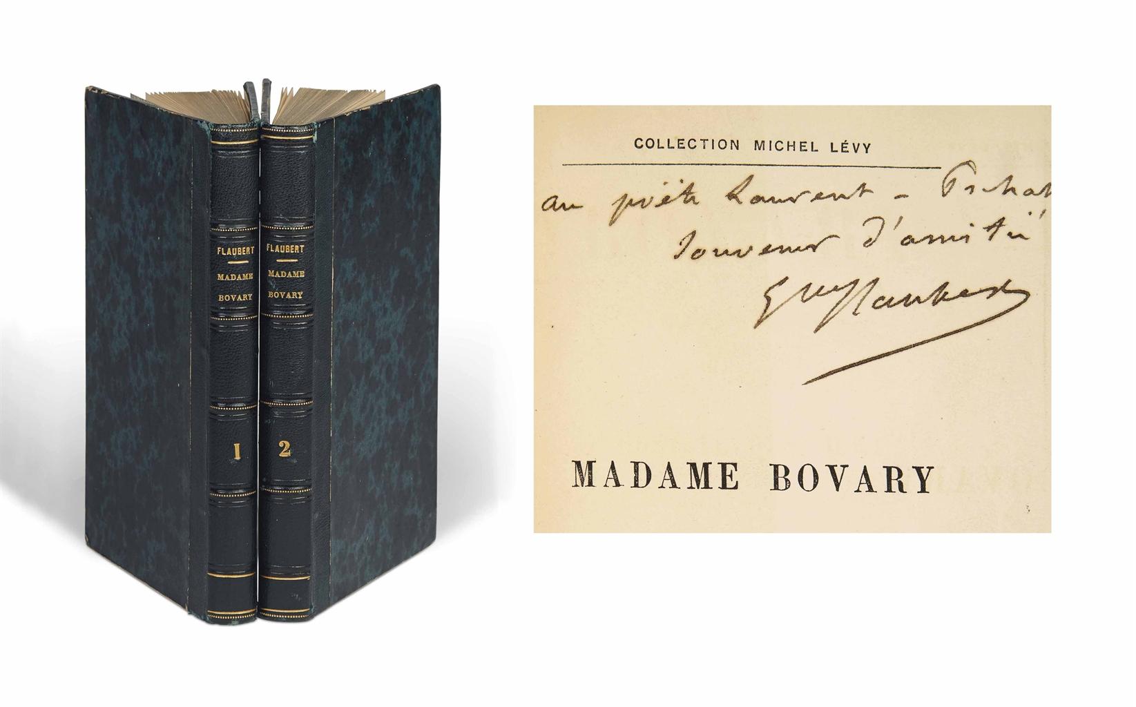 Gustave FLAUBERT (1821-1880). Madame Bovary. Moeurs de province. Paris: Michel Lévy frères, 1857. 2 volumes in-12 (175 x 114 mm). Reliure de l'époque, demi-maroquin bleu nuit, dos à nerfs.