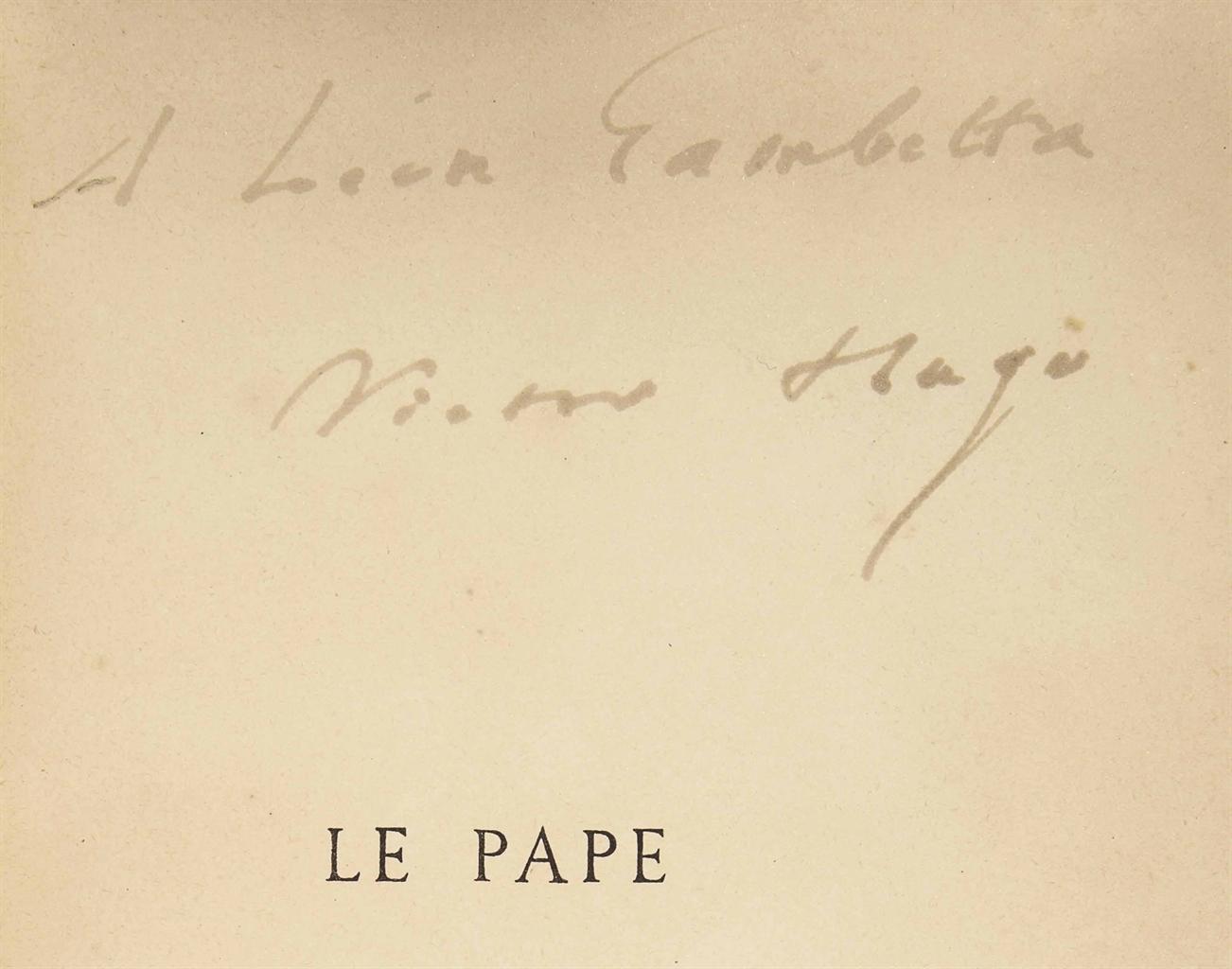 Victor HUGO (1802-1885). Le Pape. Paris: Calmann Lévy, 1878. In-8 (232 x 147 mm). Reliure du XXe siècle signée de Devauchelle, demi-maroquin rouge à coins, dos à nerfs orné, tête dorée, couverture conservée sans le dos.
