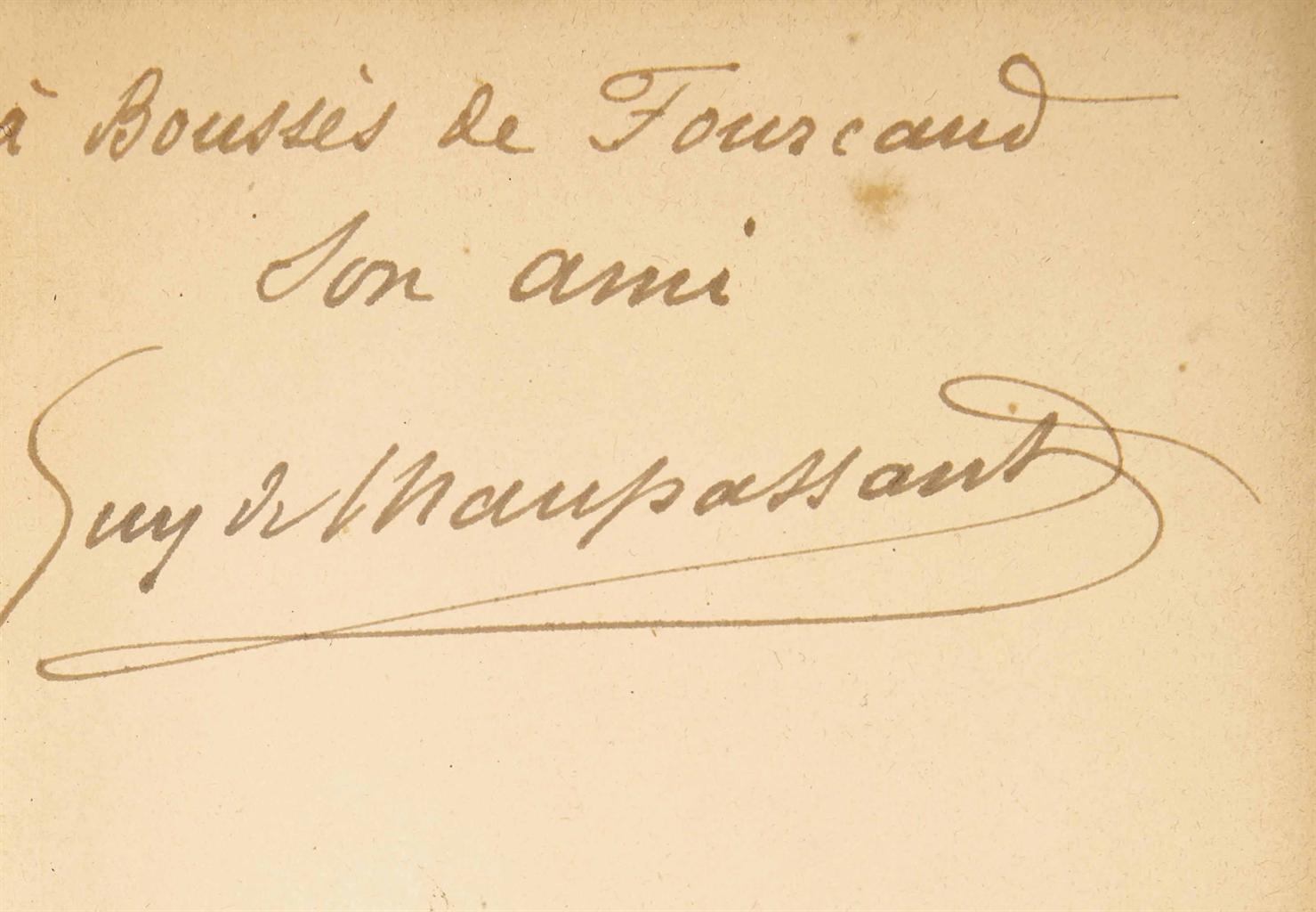 Guy de MAUPASSANT (1850-1893). Des vers. Paris: G. Charpentier, 1880. In-12 (182 x 115 mm). Reliure janséniste signée de Durvand, maroquin bleu ardoise, dos à nerfs, roulette intérieure dorée, tranches dorées, couverture et dos conservés.