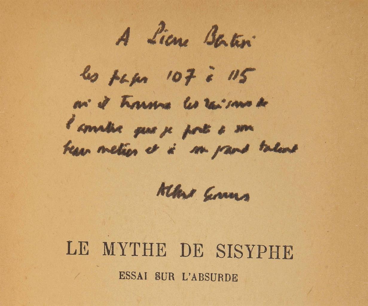 Albert CAMUS (1913-1960). Le Mythe de Sisyphe. Nouvelle édition augmentée d'une étude sur Franz Kafka. Paris: NRF, (1942). In-12 (186 x 119 mm). Broché.