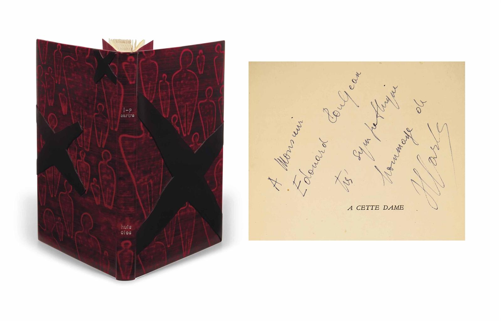 Jean-Paul SARTRE (1905-1980). Huis-clos. Paris: NR, 1945. In-12 (182 x 115 mm). Reliure signée de F. Brindeau et datée 2004, box teinté de rouge, plats ornés de silhouettes traversées, sur le plat supérieur d'une découpe irrégulière formant une croix, et de deux plus petites sur le plat inférieur, doublure de même box teinté, gardes de suédine rouge, emboîtage.