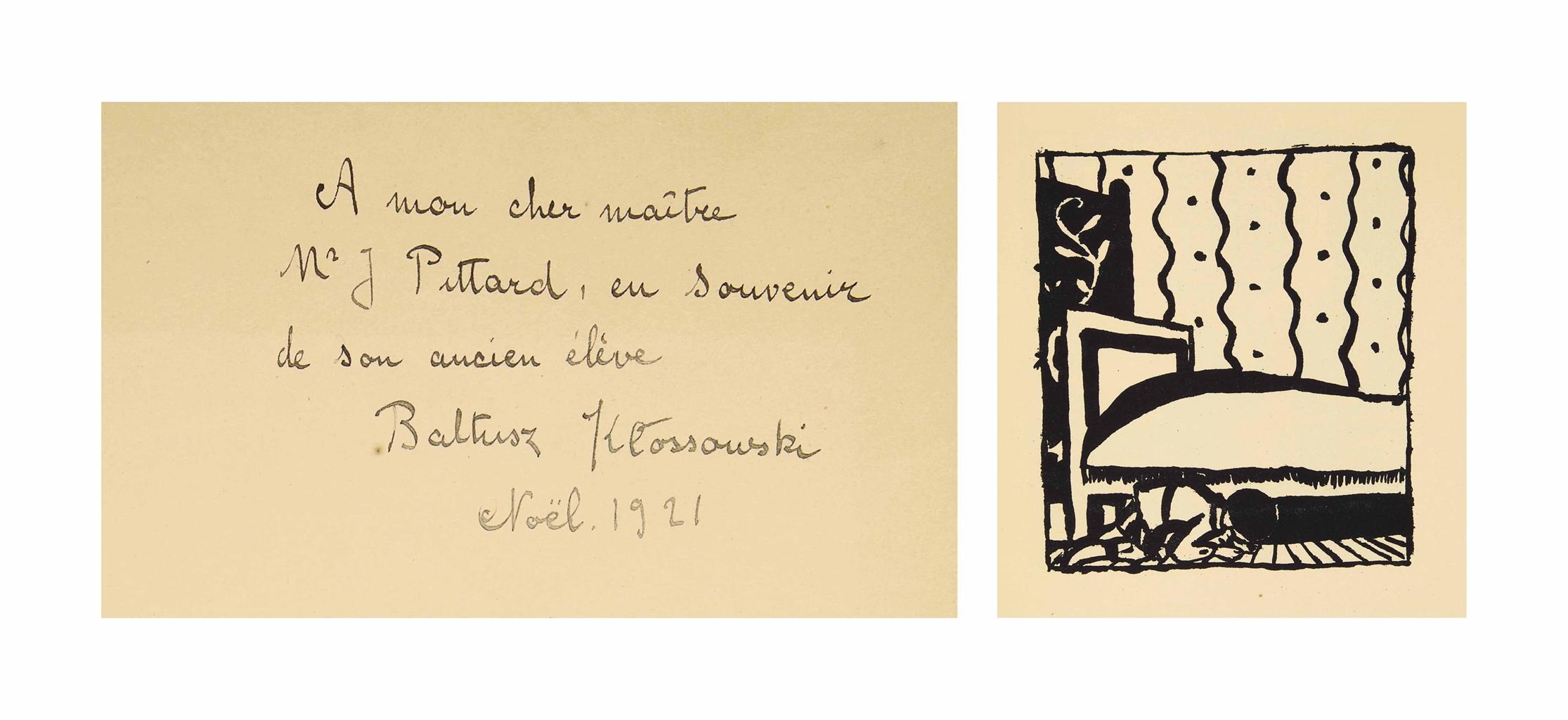 [BALTHUS] -- Rainer Maria RILKE (1875-1826). Mitsou. Quarante images par Baltusz. Préface de Rainer Maria Rilke. Erlenbach, Zürich et Leipzig: Rotapfel-Verlag, 1921. In-4 (248 x 190 mm). 40 figures de Balthus hors texte. Broché, cartonnage original de l'éditeur.
