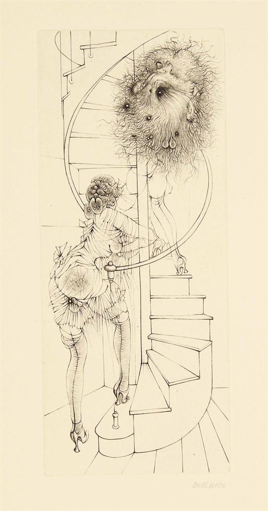[BELLMER] -- Georges BATAILLE (1897-1962). Madame Edwarda. Paris: Georges Visat, 13 mars 1965. In-folio (375 x 245 mm). 12 gravures originales à la pointe et au burin de Hans Bellmer dont le frontispice, 10 à pleine page et une vignette au colophon, toutes signées au crayon par l'artiste. En feuilles, couverture avec le titre au dos, chemise et étui de soie lilas de l'éditeur.