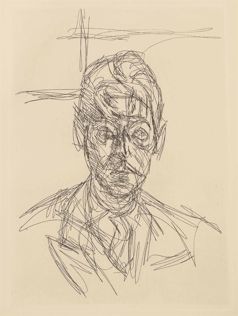 [GIACOMETTI] -- André du BOUCHET (1924-2001). L'Inhabité. Sans lieu: Jean Hugues, janvier 1967. In-4 (280 x 214 mm). 6 eaux-fortes originales d'Alberto Giacometti dont un portrait-frontispice et 5 hors texte. Broché, couverture et chemise originales muettes et étui de l'éditeur.
