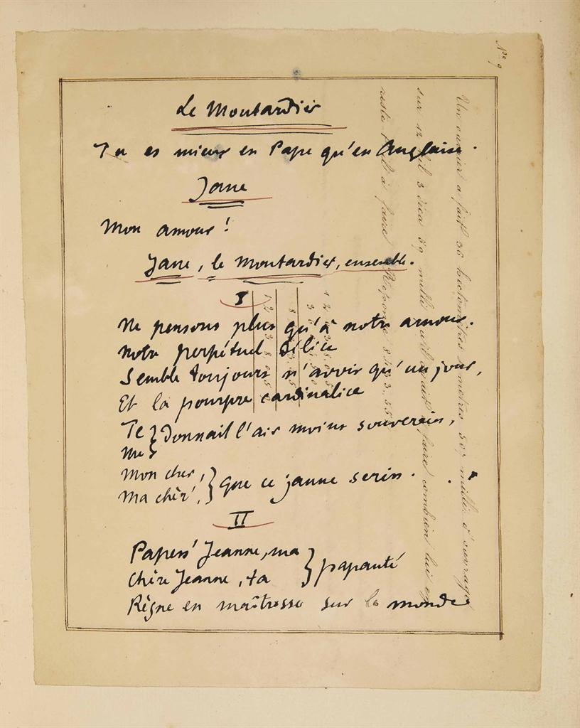 Alfred JARRY (1873-1907). Le Moutardier du Pape. Opérette bouffe en trois actes. Sans lieu ni nom [Bussière], 1907. In-4 (255 x 185 mm). Portrait-frontispice par F.-A. Cazals et vignettes dans le texte par P. Ranson. Broché, grandes marges.