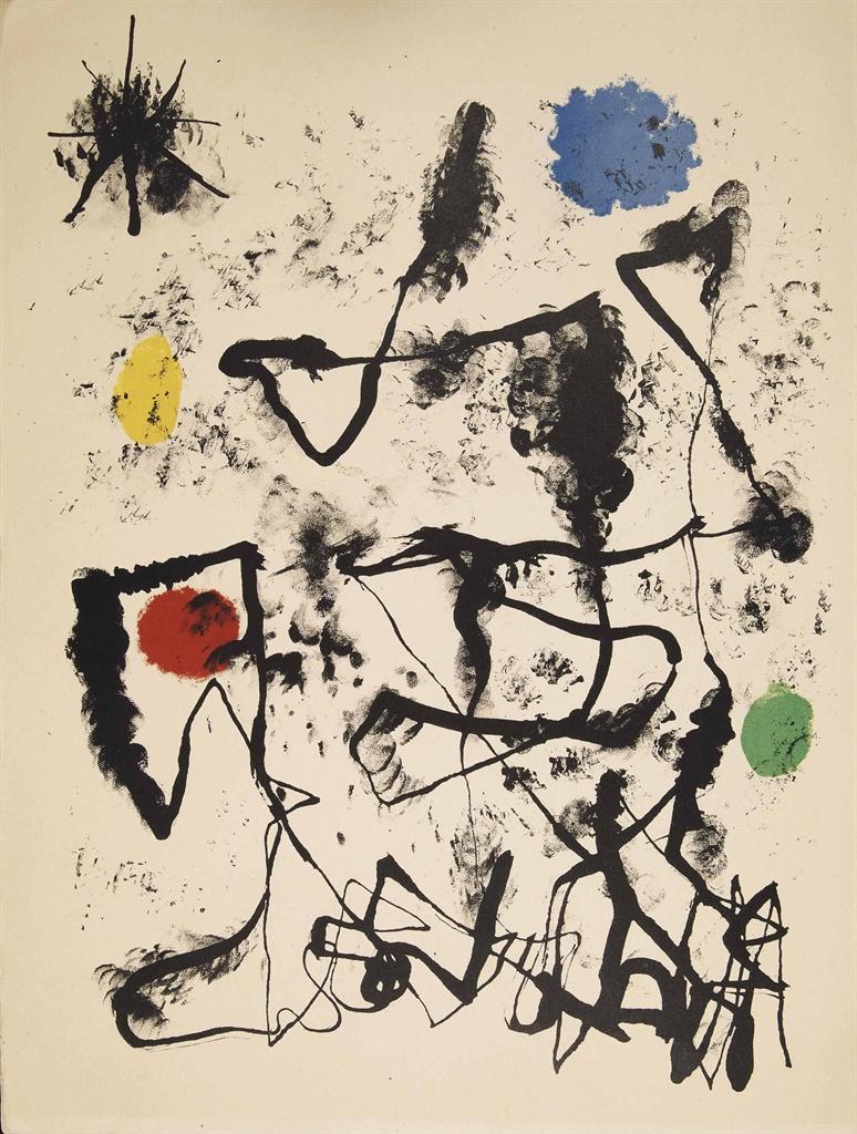 [MIRÓ] -- Tristan TZARA (1896-1963). Parler seul. Poème. Paris: Maeght, 1948-1950 [23 novembre 1948 pour le texte; lithographies tirées de 1948 à 1950]. In-folio (380 x 282 mm). 20 lithographies originales en couleur dont le frontispice et 19 à pleine page, et nombreuses lithographies dans le texte de Joan Miró en couleur et en noir. En feuilles, couverture composée d'un collage avec lithographie originale de Miró, chemise et étui de l'éditeur illustrés par Joan Miró.