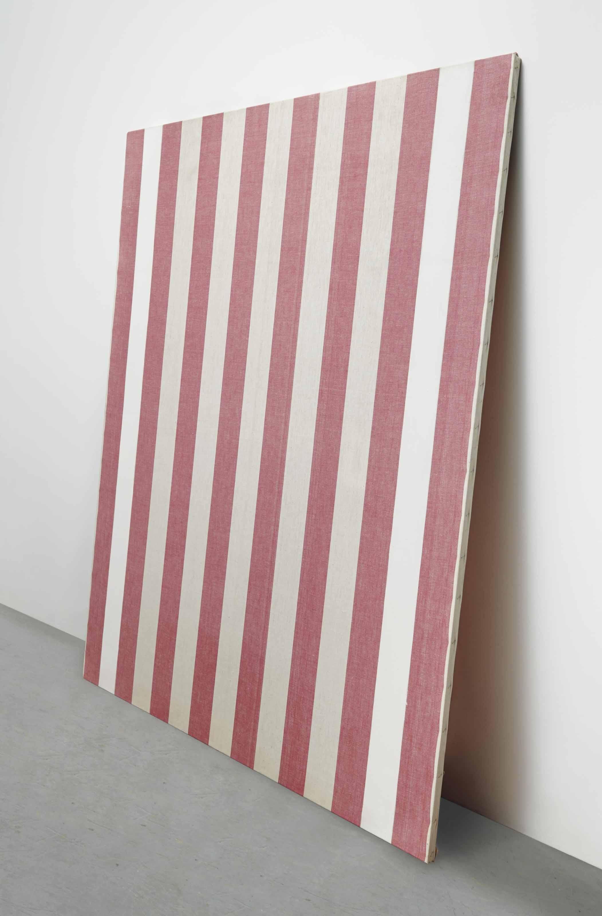 Peinture acrylique sur tissu rayé blanc et rouge